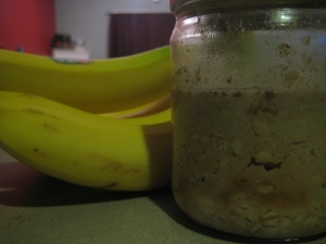 jar of overnight oats with banana